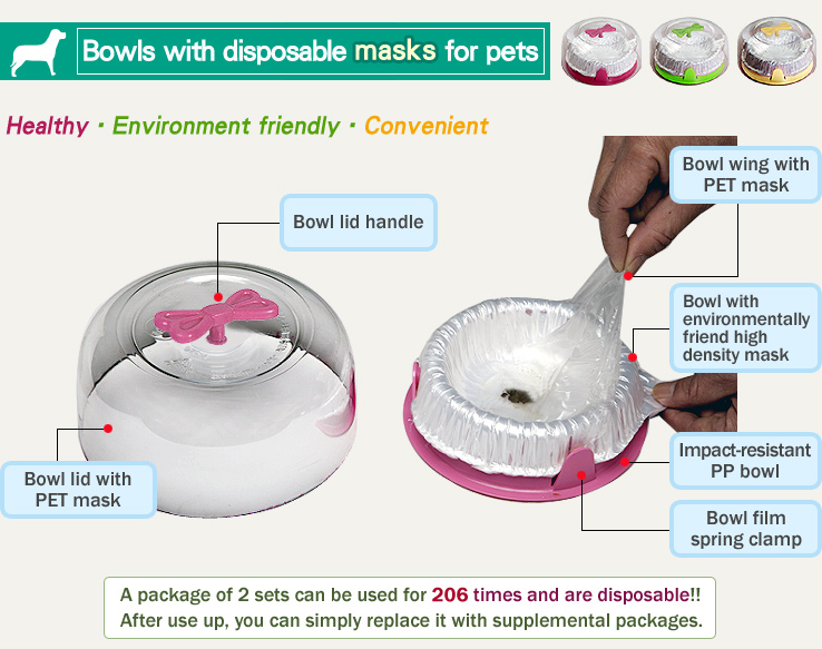 Bowls with disposable liners for pets