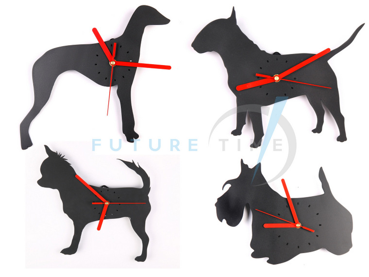 Wall clock with dog motive - Greyhound, Bullterier (Made in Poland, Europe)