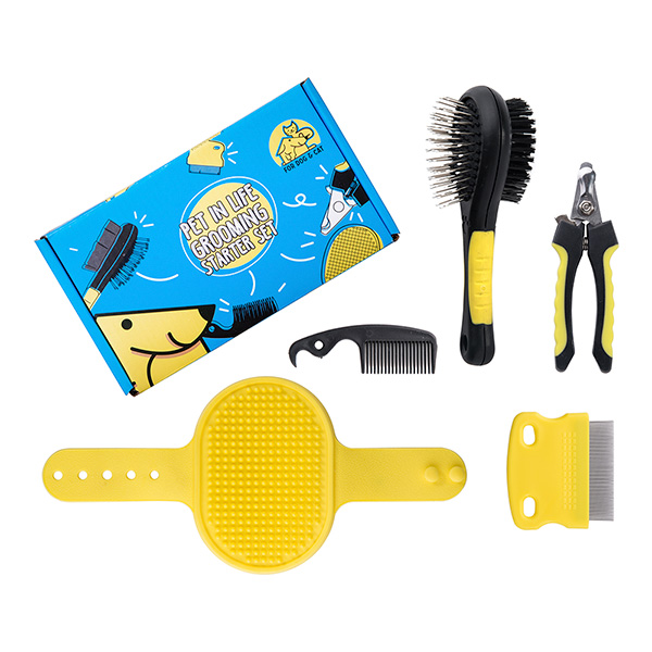 Pet in Life Grooming Starter Set (5 pieces: Pin brush, Finishing comb, Massage brush, Comb, Toenail clipper)