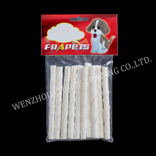 white rawhide twist stick 5inch/6-8mm