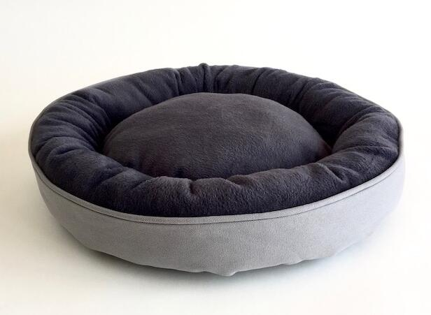 Cuddler Pet Bed with 100% cotton plush, available in Grey, White and Camel colour