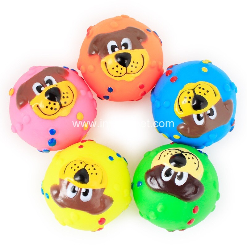Pet rubber toy squeaky dog face ball, dog accessary