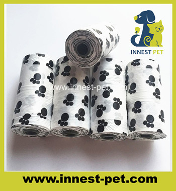 paw printed dog clean up poop waste pe bags