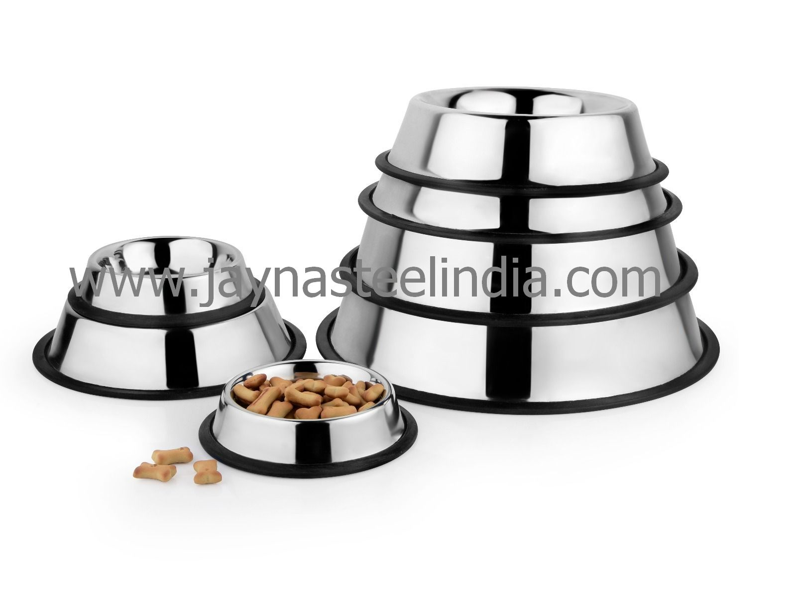 Stainless steel anti skid non tip dog bowl with rubber base