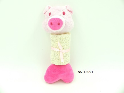 Soft Animal Loofah and Rope Body Dog Toy - Pig