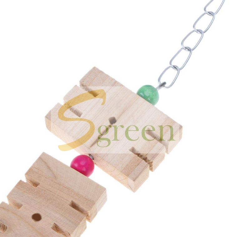 Wooden bird toy with steel chain and clolor ball