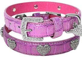 bling heart dog collar